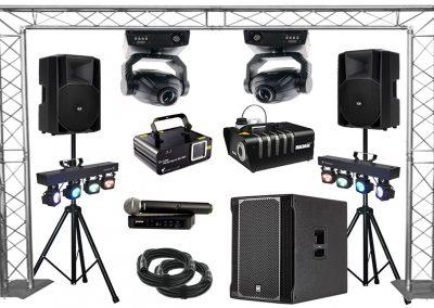 """Pack """"Professionnel"""" Enceintes, , jeux de lumières, micro HF, machine à fumée."""