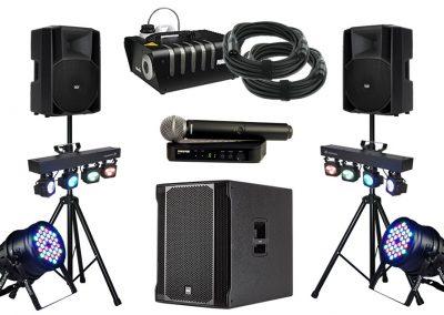 """Pack sono """"Prestige"""" Enceintes, sub, jeux de lumières, micro HF, machine à fumée..."""